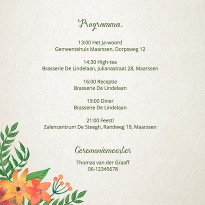 Trouwkaart bloemkrans met namen 2