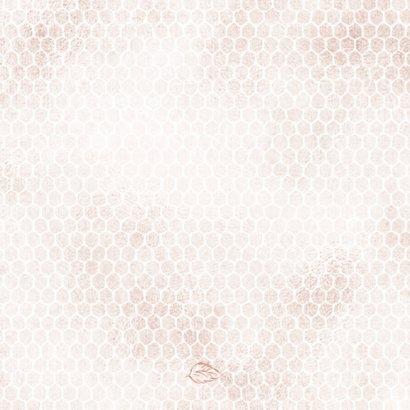 Trouwkaart boeket met roos op honingraatmotief Achterkant