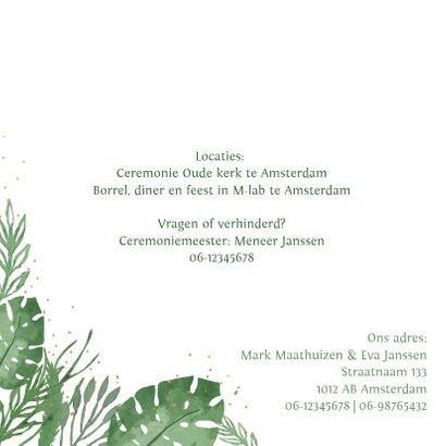 Trouwkaart botanical bladeren stipjes 2
