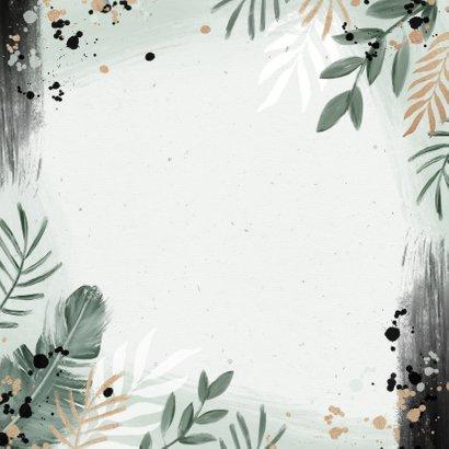 Trouwkaart botanisch goud waterverf stijlvol  Achterkant
