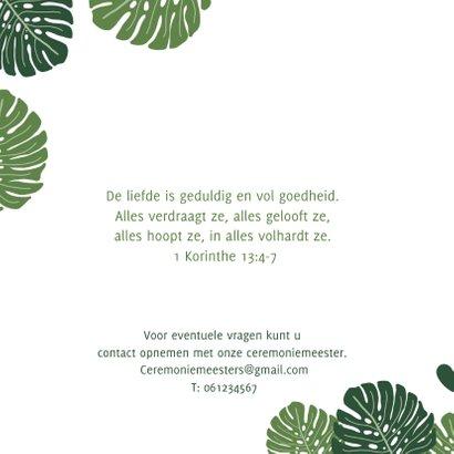 Trouwkaart botanisch groen met grote bladeren 2