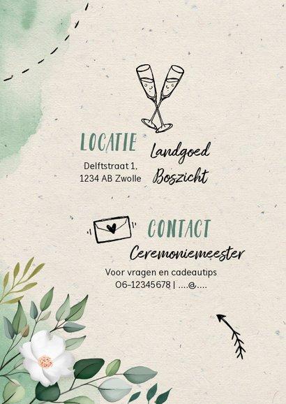 Trouwkaart botanisch waterverf doodle met foto 2