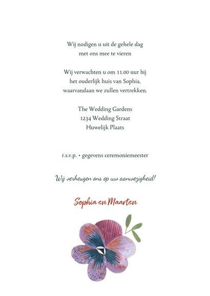 Trouwkaart botanische bruiloft set 3