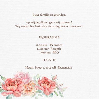 Trouwkaart bruidstaart rozen 3