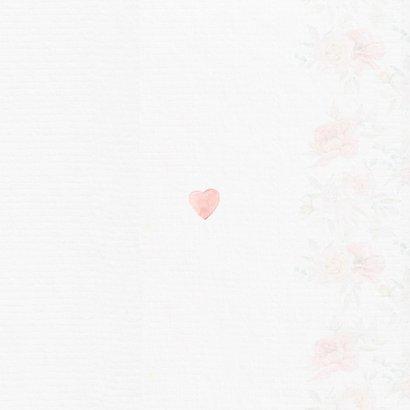 Trouwkaart bruidstaart rozen Achterkant