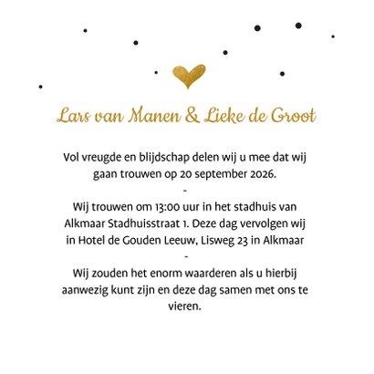 Trouwkaart confetti gouden hart 3