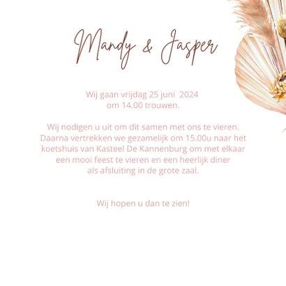 Trouwkaart droogbloemen marmer 3