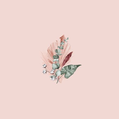 Trouwkaart droogbloemen roze mr and mrs waterverf Achterkant