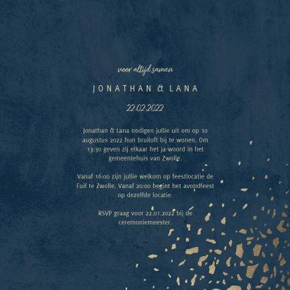 Trouwkaart foto 'Mr & Mrs' donkerblauw met terrazzo patroon 3