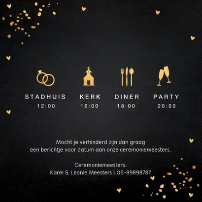 Trouwkaart fotocollage gouden confetti 2
