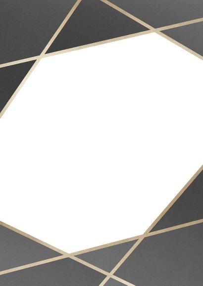 Trouwkaart geometrisch patroon grijs Achterkant
