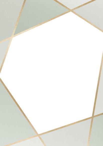 Trouwkaart geometrisch patroon groen Achterkant