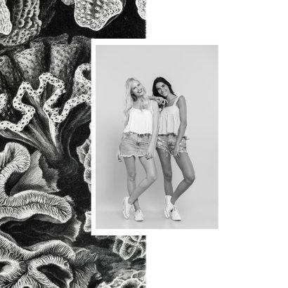 Trouwkaart getuige zwart wit koraal stijlvol foto 2