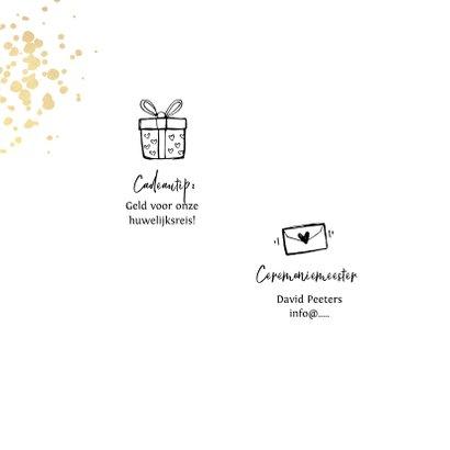 Trouwkaart goudlook tijdlijn met illustraties inlegkaart 2