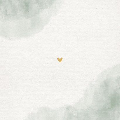 Trouwkaart groen waterverf takjes gouden hartjes Achterkant