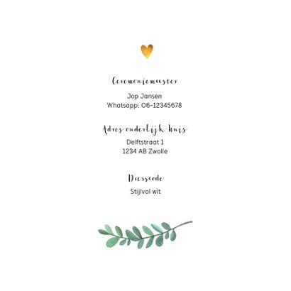 Trouwkaart handgeschilderde blaadjes en gouden hartjes 2