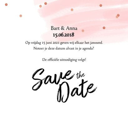Save the date kaart confetti aquarel 3