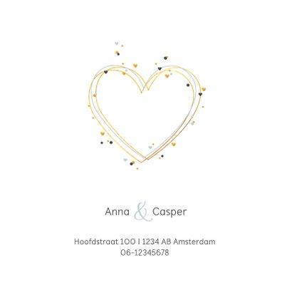 Trouwkaart huwelijk hartjes met confetti 2