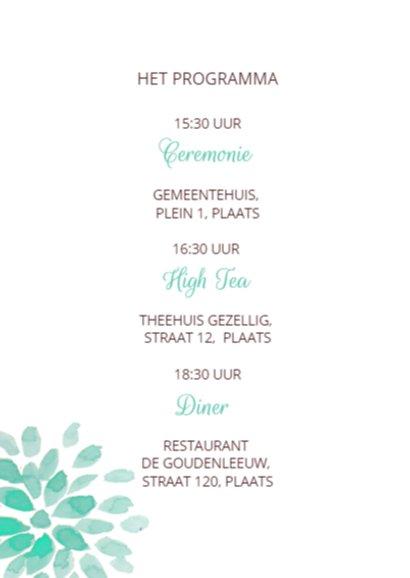Trouwkaart Huwelijk Tuinfeest 2