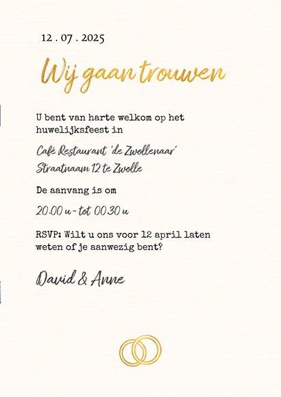 Trouwkaart in trouwboek vorm met bruine kaft 3
