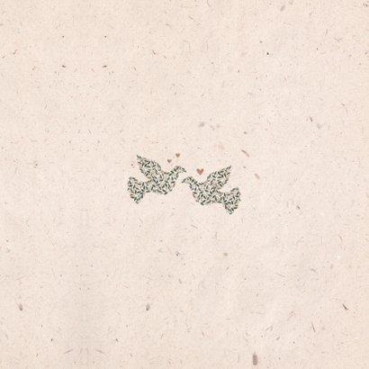 Trouwkaart kraftlook met foto en duiven van bloemen Achterkant