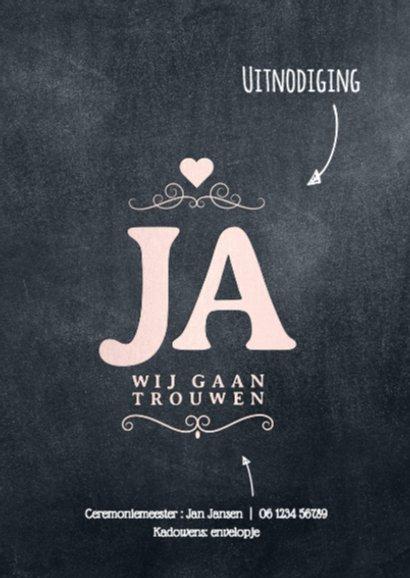 Trouwkaart label JA 2