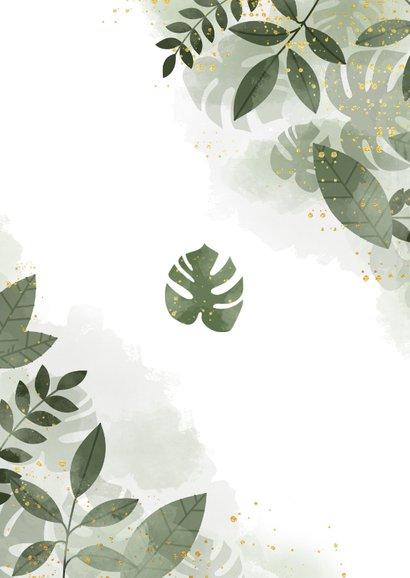 Trouwkaart met botanisch thema, waterverf en gouden spetters Achterkant