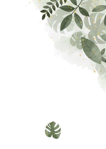 Trouwkaart met foto, botanische print en waterverf Achterkant