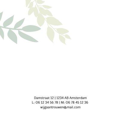Trouwkaart met groene takjes 2
