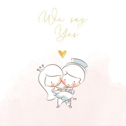 Trouwkaart met illustratie bruidspaard en gouden hartjes 2