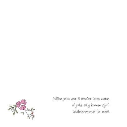 Trouwkaart met rozen en duiven 2