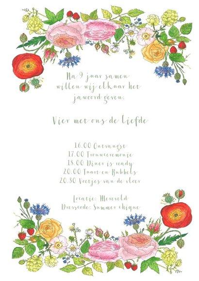 Trouwkaart met rozen en hop 3