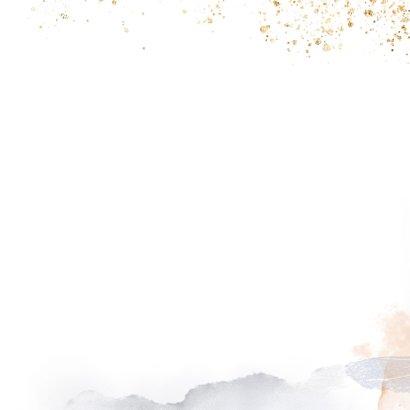 Trouwkaart met silhouet bruidspaar Achterkant
