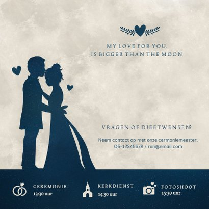 Trouwkaart met  silhouet van een bruidspaar in volle maan 2