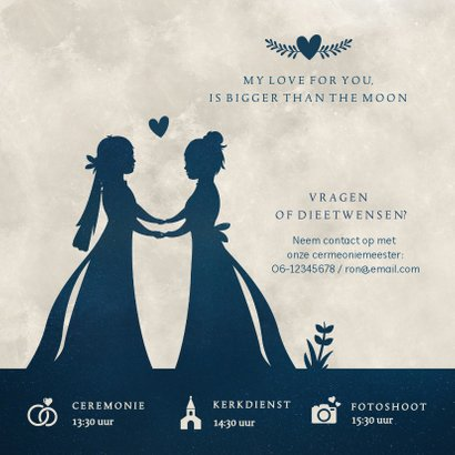 Trouwkaart met silhouetten van 2 vrouwen in volle maan 2