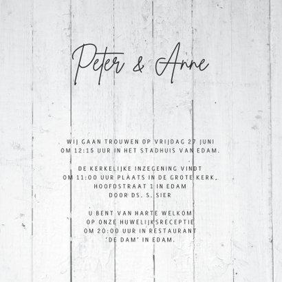 Trouwkaart met vergrijsd hout print 3