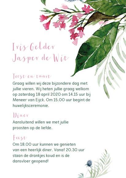 Trouwkaart met watercolor bloemen en bladeren 3