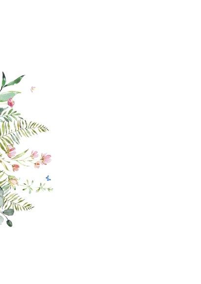 Trouwkaart met wilde bloemen Achterkant