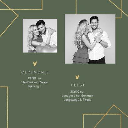 Trouwkaart modern stijlvol goud grafisch hartjes foto's 2