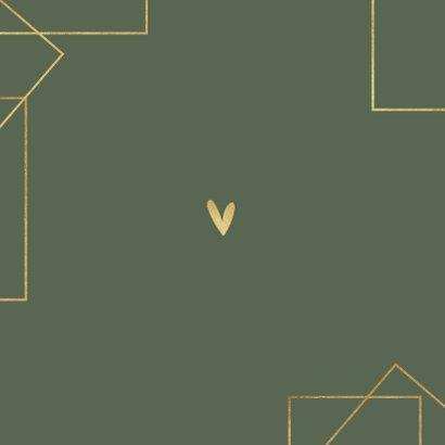 Trouwkaart modern stijlvol goud grafisch hartjes foto's Achterkant