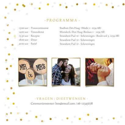 Trouwkaart Mr & Mrs goud - met eigen foto en confetti kader 2