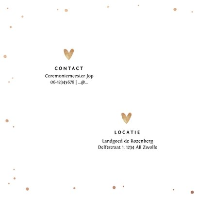 Trouwkaart Mr & Mrs met goudlook tekst, confetti en hartjes 2