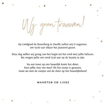 Trouwkaart Mr & Mrs met goudlook tekst, confetti en hartjes 3