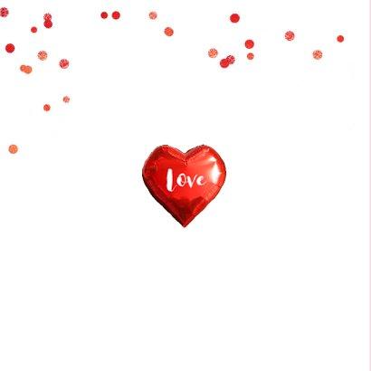 Trouwkaart of bedankkaart fotocollage hart rood 2