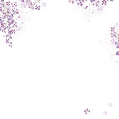 Trouwkaart paarse seringen Achterkant