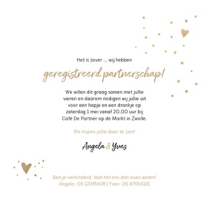 Trouwkaart Partners voor het leven met foto in nis 3