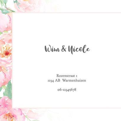 Trouwkaart pastel rozen met kader 2