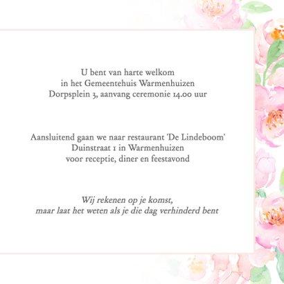 Trouwkaart pastel rozen met kader 3