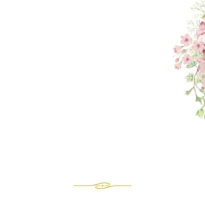 Trouwkaart roosjes met kader Achterkant