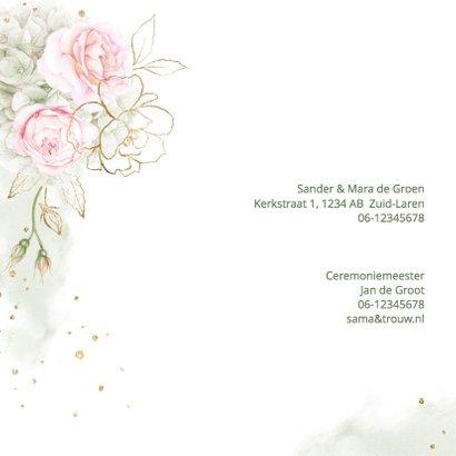 Trouwkaart roze rozen met goud 2